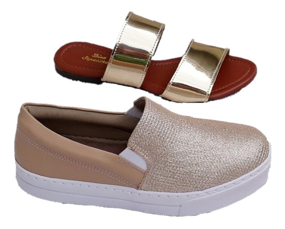 Kit Tênis Slip On Iate Nude Slim E Chinelo Slide Feminino