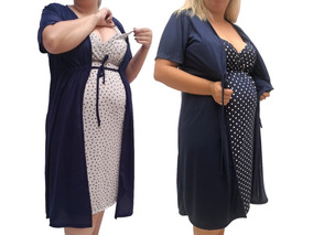 Kit 2 Camisolas Plus Size Com Robe Gestante N026-026