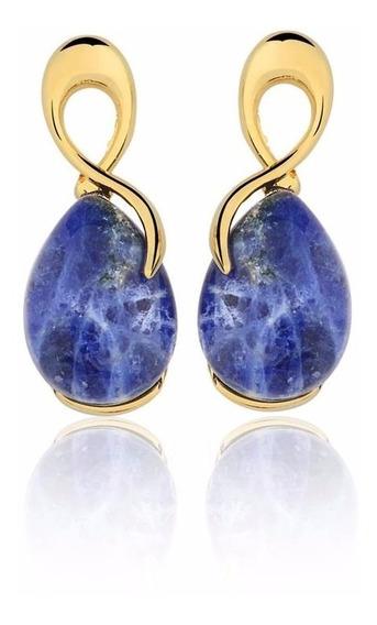 Brinco Semijoia Laçado Pedra Natural Quartzo Azul Ouro 18k