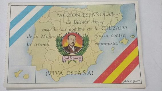 Postal Antigua Guerra Civil Española Acción Franquismo