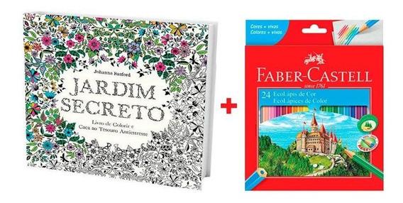 Kit Livro De Colorir Jardim Secreto + Lápis De Cor 24 Cores
