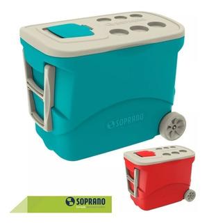 Caixa Térmica 50 Litros Cooler Rodas Vermelha Azul Soprano