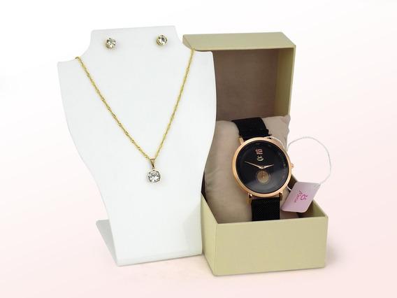 Relógio Feminino Orizom Pulseira Magnética + Colar + Caixa