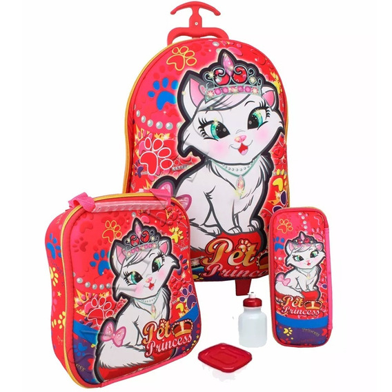 Kit Mochila Infantil Gatinha Princesa Original G + Brinde