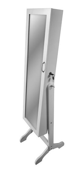 Espejo Joyero Mediano Blanco Premium, Porta Anillos, Cajones