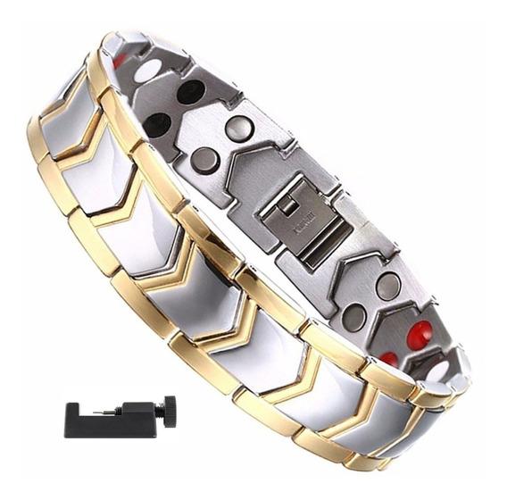 Pulseira Magnética Fir Energética Bracelete Titânio Masculin