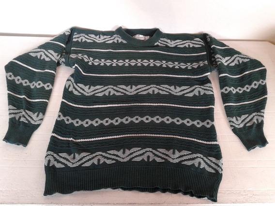 Sweter Verde Y Blanco Talle L