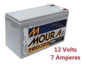 Bateria Moura Estacionaria 12v 7ah Vrla Nobreak, Alarme