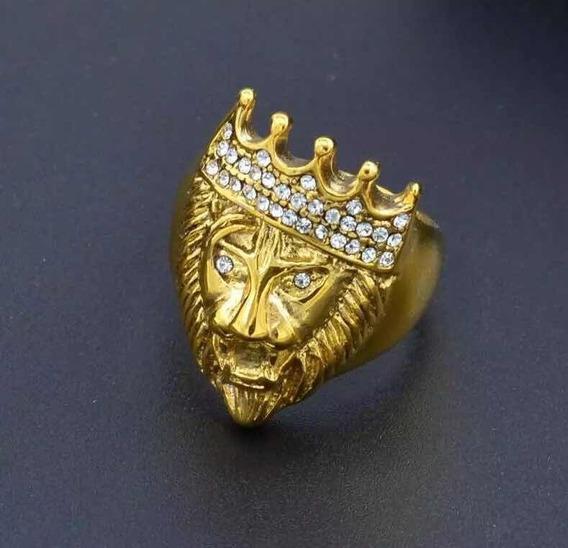 Anel Dourado Leão Com Coroa