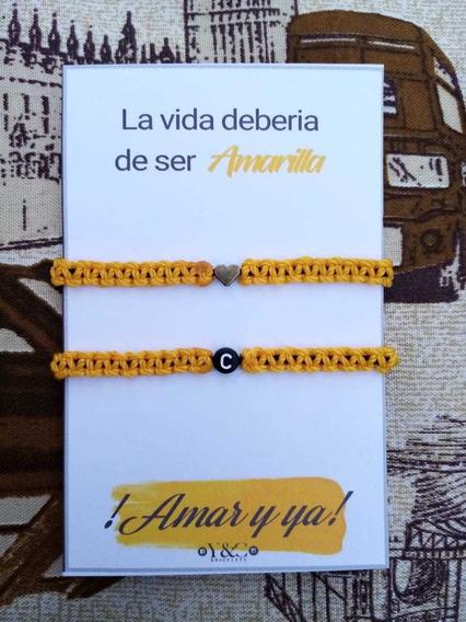 Pulseras Amar Y Ya Inicial Pareja Y Corazón, Novios, Duo
