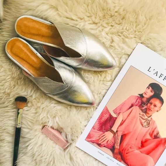 Zapato Mujer Zueco Lynch Cuero Plata #144