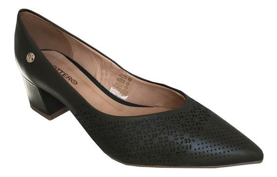 Sapato Scarpin Bottero 316304 Couro C/ Recortes Salto Grosso