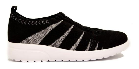 Zapatillas Mujer En Tela Negro, Super Liviana Comfortflex