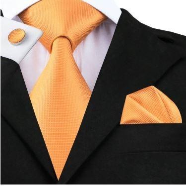 356 Corbata Seda Jacquard Pañuelo Mancuernillas - Naranja