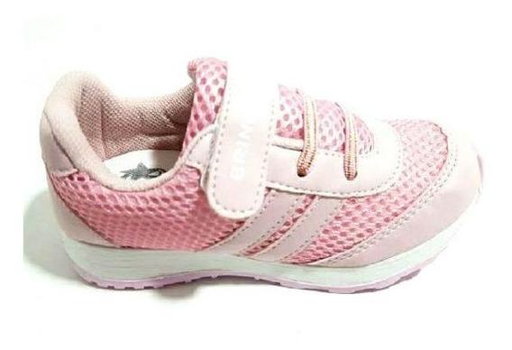 Tenis Infantil Menina Escolar Barato Velcro Casual 5185