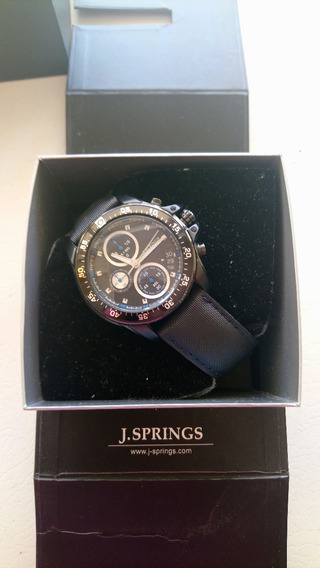 Reloj Caballero Pulsera J Springs Negro Azul Elegante Vestir