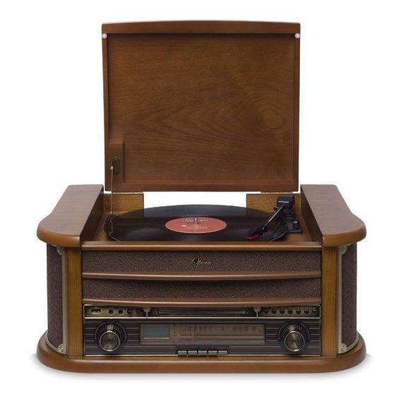 Vitrola Raveo Ópera Bt Toca Discos Rádio Fm Cd Usb Bluetooth