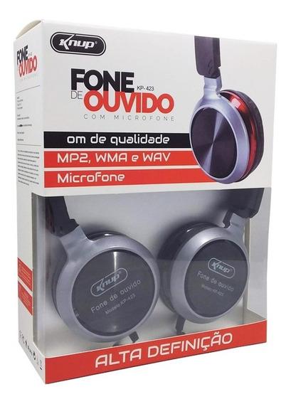 Fone De Ouvido Extra Bass Kp-423 Microfone P2 Atende Chamada