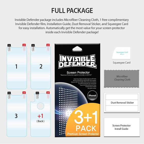 4 Pack Micas Para Apple iPhone X Invisible Defender