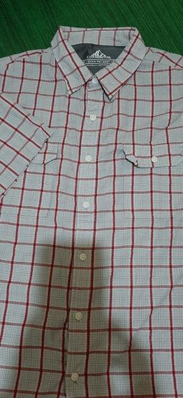 Camisa Croft Barrow #96manga Corta A Cuadros Gris Con Rojo