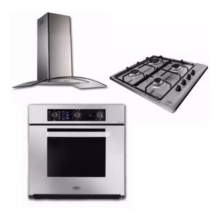 Combo Cocina Tst Horno Eléctrico Anafe Gas 4h Campana Lacar