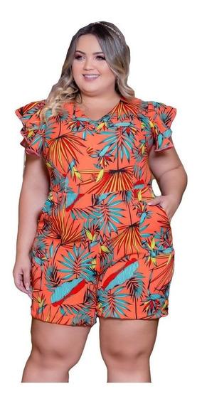 Macaquinho Plus Size Estampado Roupas Moda Feminina Gg