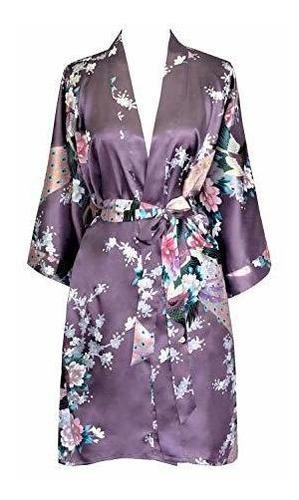 Bata Kimono Satinada Para Mujer Oldshanghai - Peacock Y Blos