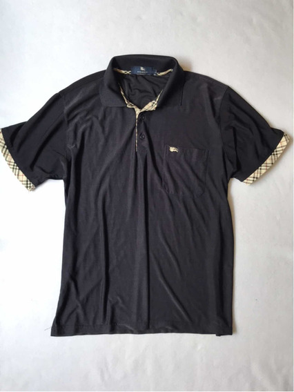 Burberry Playera Polo Original 100% Seda Azul Marino