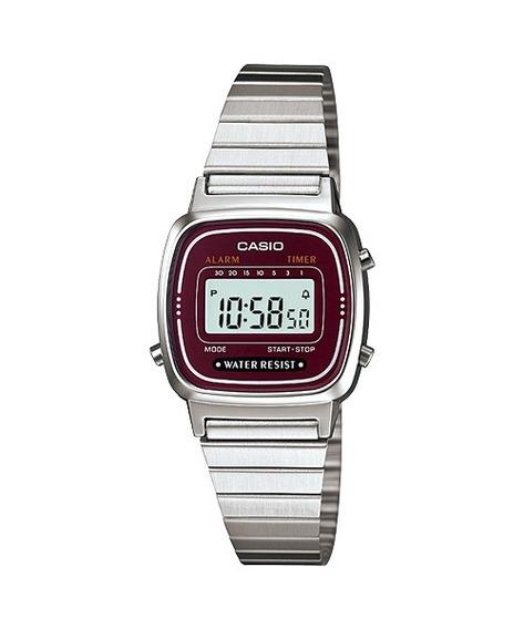 Relogio Casio La670 Wa-4df Cronometro Alarme Timer Wr Vinho