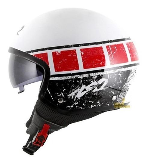 Capacete Aberto Ls2 Of561 Wave Rook Open Branco / Vermelho