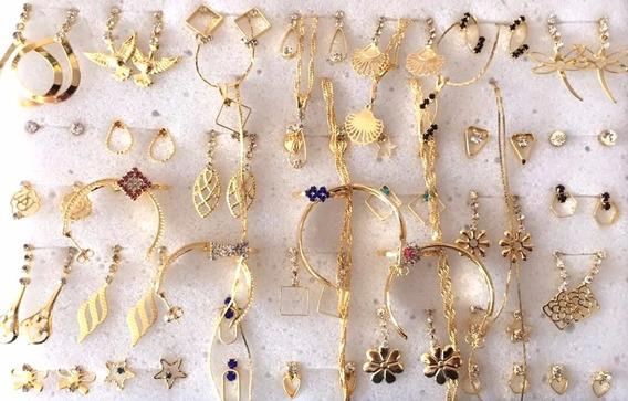 Kit Brincos Pulseiras 40 Peças Semi-jóias Folheadas Ref02
