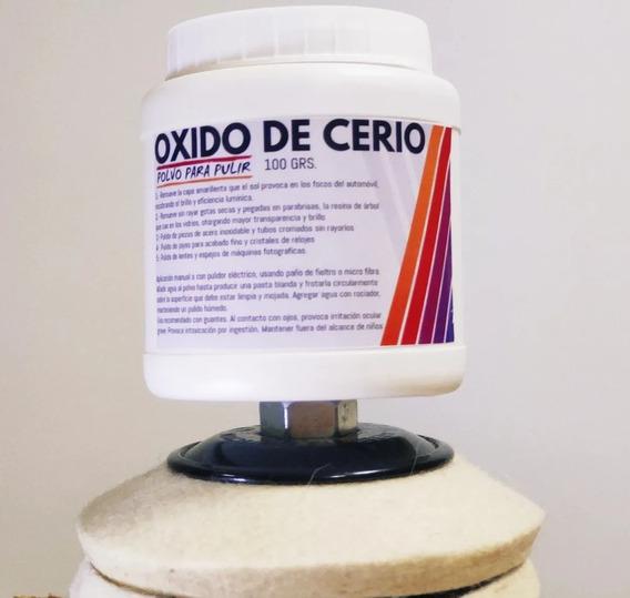 Óxido De Cerio X 100g + Disco De Fieltro 100x8mm Pule Vidrio