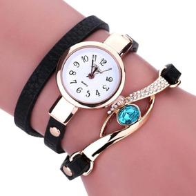 Relógio Feminino De Luxo Pulseira De Couro, Pedra Vintage