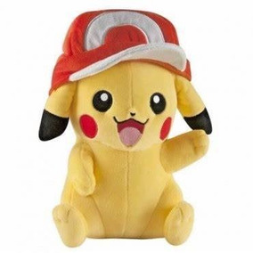 Pelúcia Pokemon Pikachu Com Boné Tomy Lacrado Original