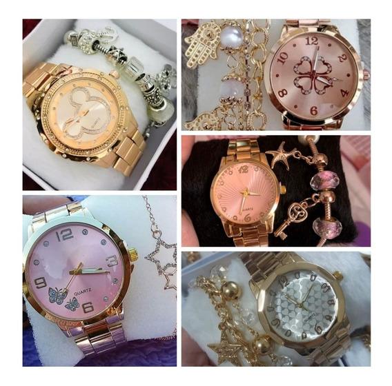 Kit Com 5 Relógios Feminino Mais Pulseiras Atacado Revenda