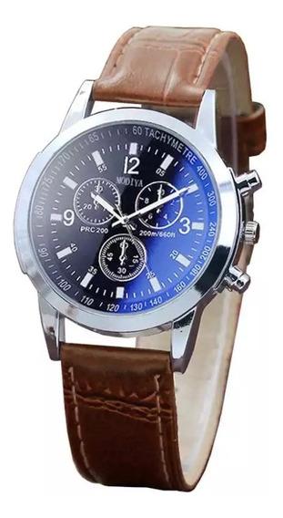 Relógio Masculino Social Luxo Pulseira De Couro