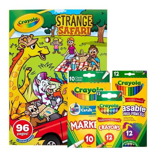Set 12 Crayolas +12 Lápices Borrables+10 Marcadores+libro