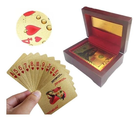 Baralho Dourado Ouro 24k Folheado Poker Truco Cartas Dolar