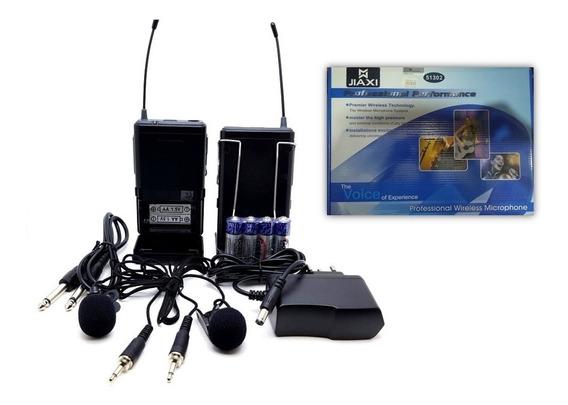 Microfone Sem Fio Jiaxi 51302 Profissional Duplo Lapela