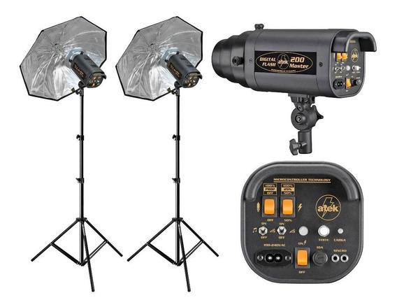 Flash Estúdio Atek Digital 200 Master Bivolt S-novo Desconto