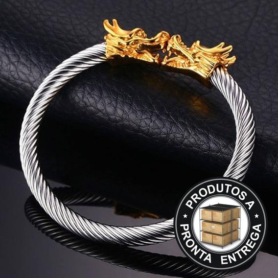Pulseira Bracelete Dragão Ouro 18k Aço Inox Hip Hop Luxo Moto Metal Dourada Moçonaria Feminina Anel Lxbr P181
