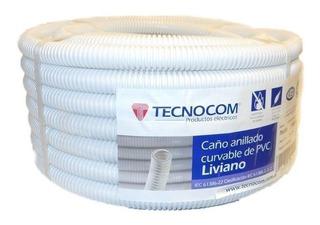 Caño Corrugado 1 Rollo 25 Mts Blanco Ignifugo Tecnocom Ele.