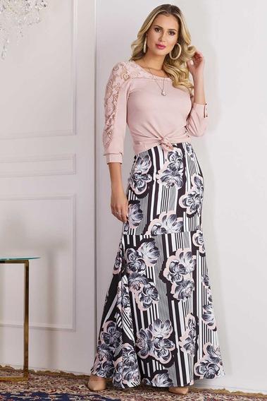 Conjunto Zunna Ribeiro Detalhes Em Renda - Moda Evangélica