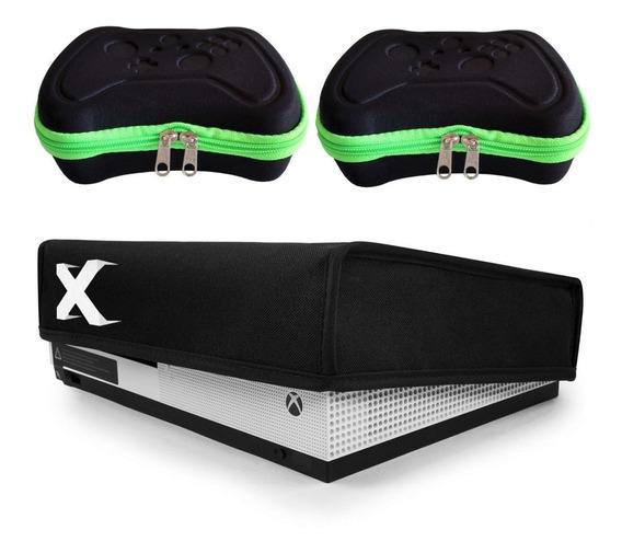 Kit Capa Protetora Xbox One S + 2 Cases Controle Eva Rígidos