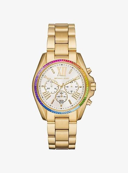Relógio Michael Kors Feminino Original Mk6583 Rainbow Pavê
