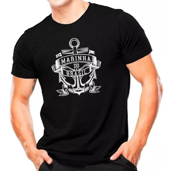 Camiseta Militar Estampada Marinha Do Brasil Preta