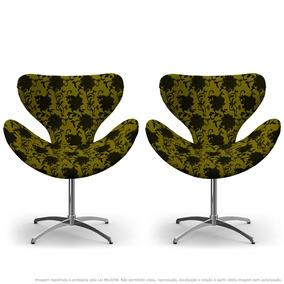 Kit 2 Cadeiras Egg Floral Preto E Amarelo Com Base Giratória