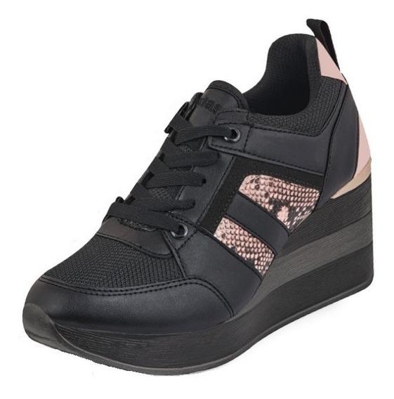 Tenis Sneakers Dama Mujer Plataforma 8 Cm Animal Print Comod