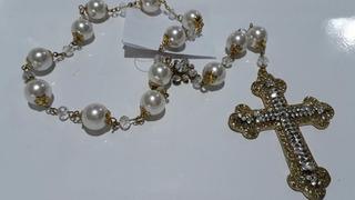 Terço Noivas Casamento Perolas Crucifixo Dourado
