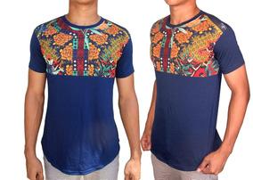 Camisa Longline Luxo Azul Com Detalhes Florais !